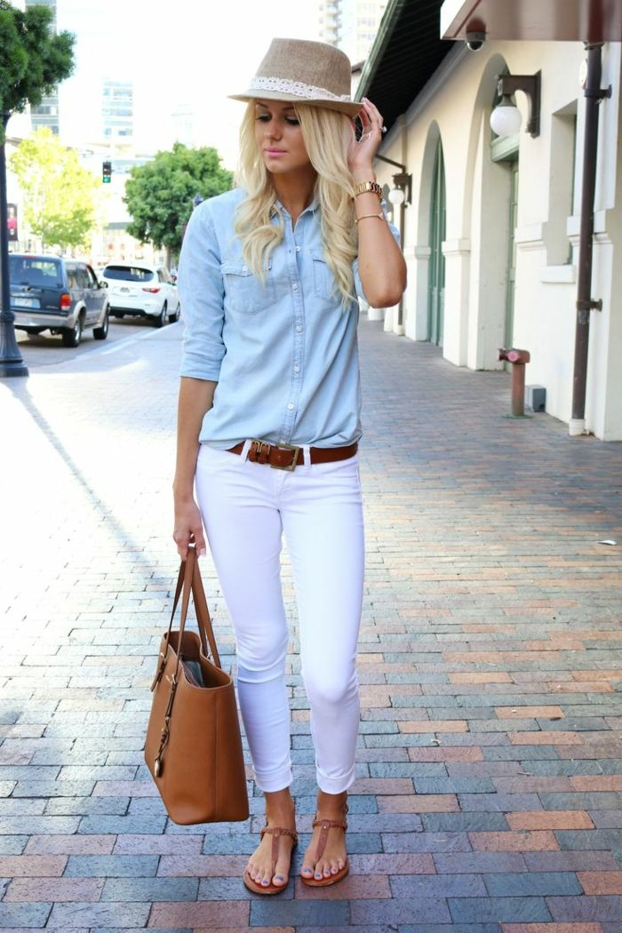 Idée comment porter la chemise en jean la chemise en jean tenue jean blanc