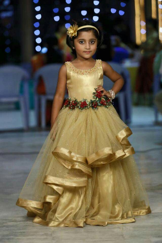 Golden Event Gown for Girls | #GirlsFashion #Wedding #EveningGowns #Gold