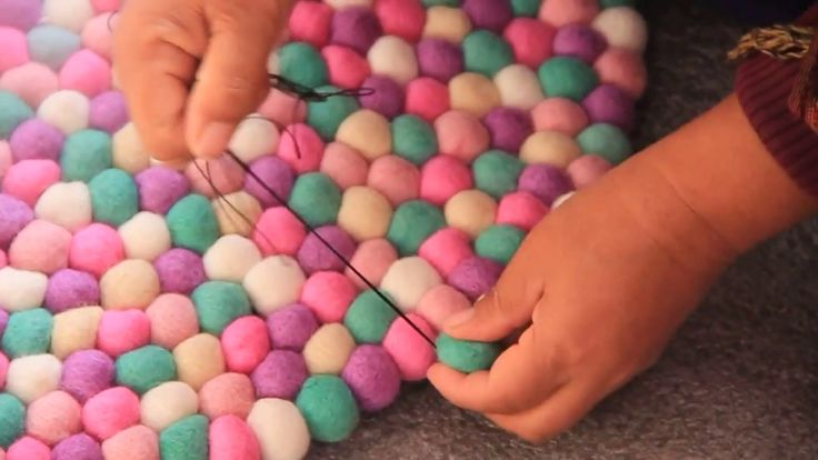 ...  This quick diy video shows how to make a felt ball rug. In order to make a mint felt ball rug, you require 4-5 colours for your mint felt ball rug, couple of felt needles and plenty of cotton thread.. How, Make, Felt, Ball,