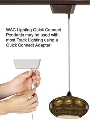 WAC Lighting Quick Connect Pendants for Track Lighting  WAC Lighting's Quick Connect collection of pendants features hundreds of hand blown glass and metal designs.  Available for L Series (Lightolier compatible), H Series (Halo compatible), J/J2 Series (Juno Single Circuit or Juno 2 Circuit compatible)
