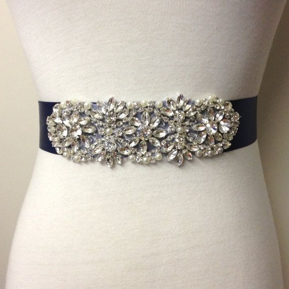 This Floral Crystal Pearl applique sash is stunning and sparkling, prefect addition to your bridal attire.    What sets this sash apart from
