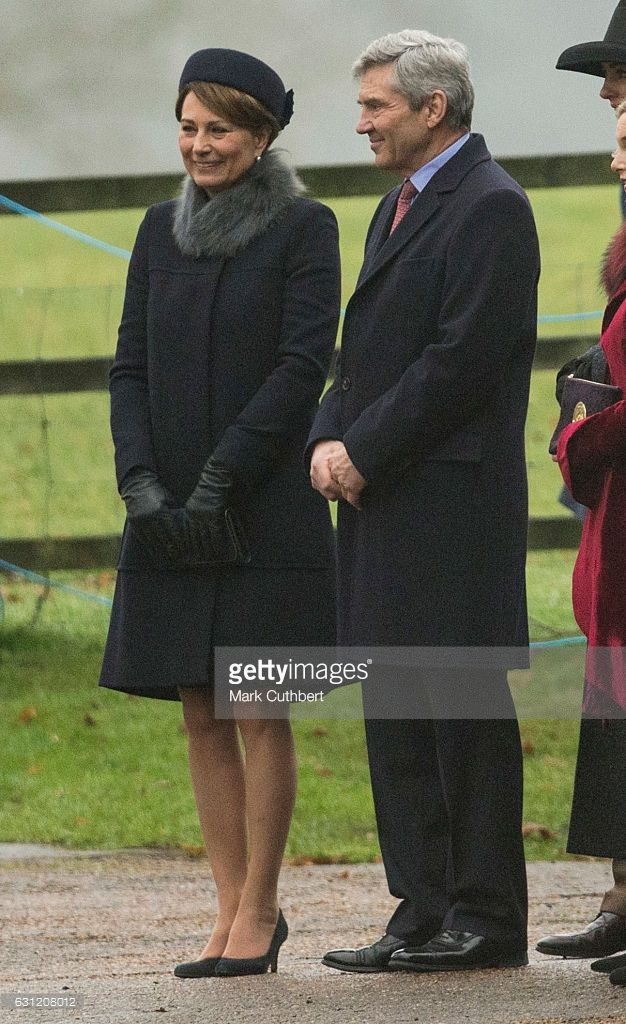 Carole Middleton and Michael Middleton attend St Mary Magdalene Church at Sandringham on January 8, 2017 in King's Lynn, England.  (Photo by Mark Cuthbert/UK Press via Getty Images)