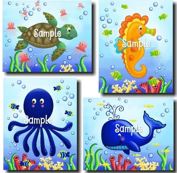Set of 4 Ocean Creatures Wonders 8x10 Kids by LittleMonkeyDoodles, $20.00