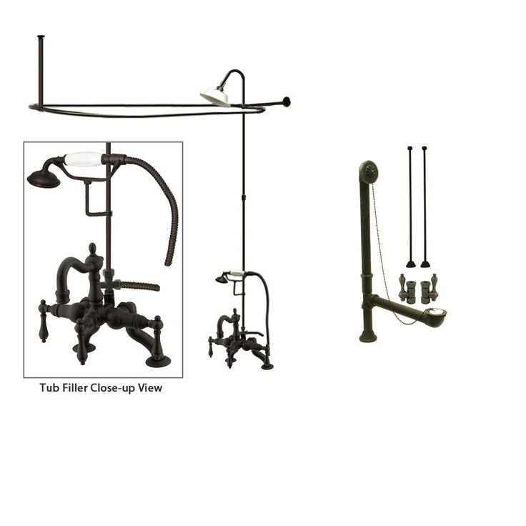 Oil Rubbed Bronze Clawfoot Tub Shower Faucet Kit with Enclosure Curtain Rod 2007T5CTS