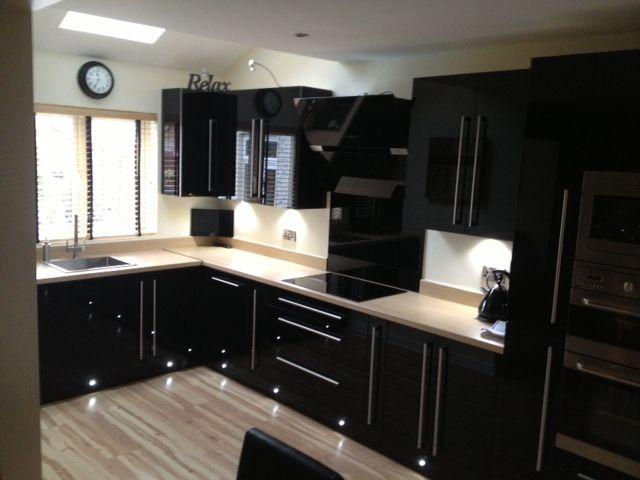 Black Hi Gloss Acrylic Kitchen Dark Cabinets Black Kitchens