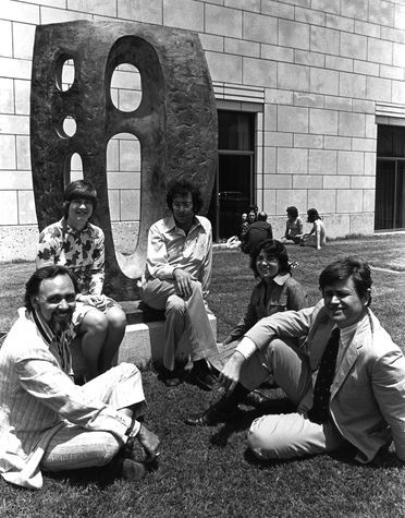 Director Harry S. Parker III (far right) enjoying the courtyard, 1970s  (Photography: From the Collection of the Texas/Dallas History and Archives Division, Dallas Public Library)Parker Iii, Cities, Director Harry, 1970S Photography, Texas Dallas History, Public Libraries, Dallas Public, Archives Division, Dallas Museums