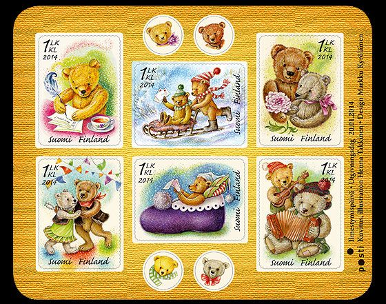 Teddy Bears Issued in January 2014. #stamps #finland http://wopa-stamps.com/index.php?controller=country&action=stampProduct&id=12716