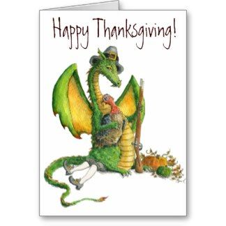 Thanksgiving Dragon card