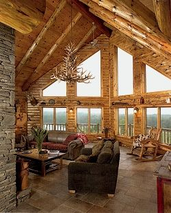 Adirondack Country Log Homes: Logcabin, Dreams Home, Dreams Houses, Dreams Living Rooms, Window, Logs Cabins Interiors, Antlers, The View, Logs Home