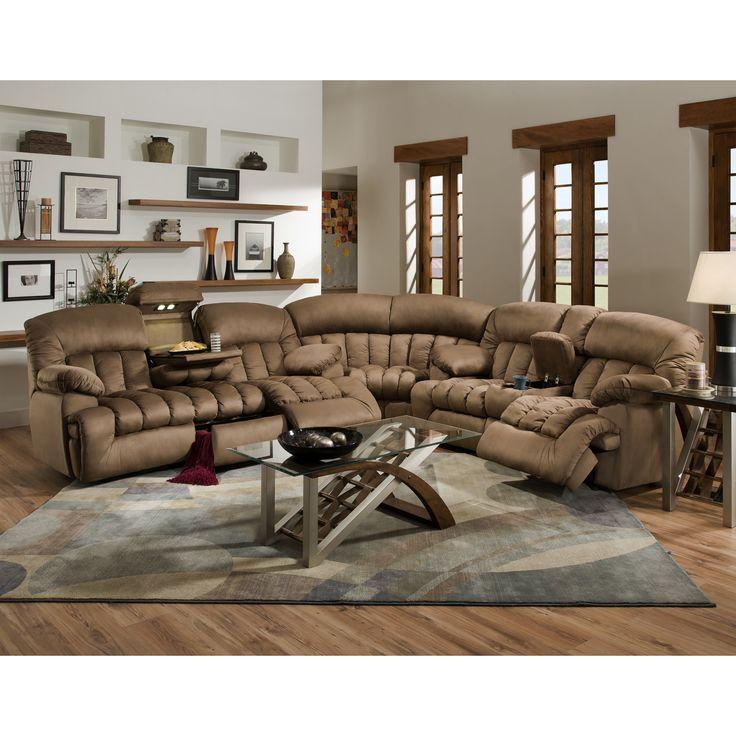 Carrington motion brown plush mink 3 piece sectional sofa for Large plush sectional sofa