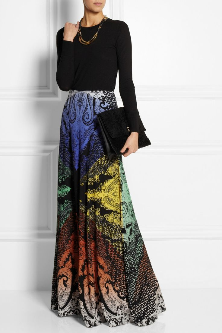Etro | Printed stretch-silk maxi skirt | NET-A-PORTER.COM FW14