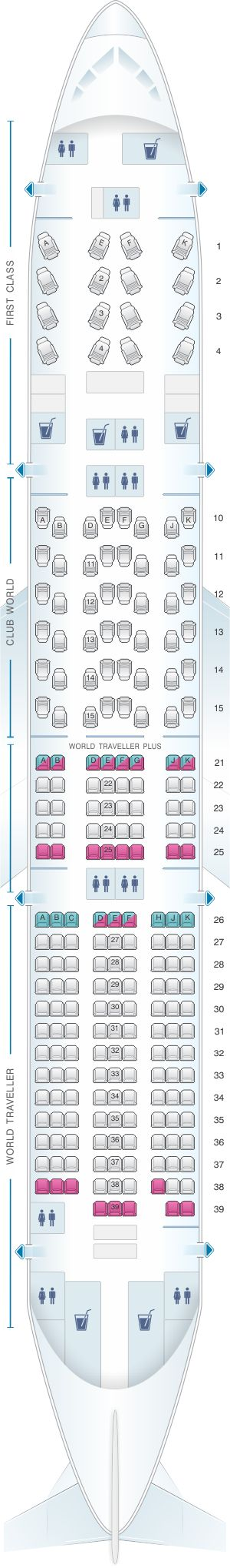 Seat Map British Airways Boeing B777 200 four class