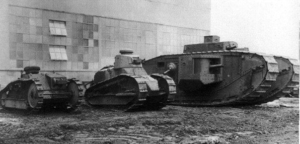 The American war machine during the First world war (left to right): Ford M1918 light tank, light 6-ton M1917 tank and heavy tank Mk VIII