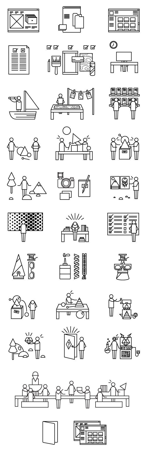 Líneas de producción y distribución Destination: Play Guide Book Icons by Ella Zheng
