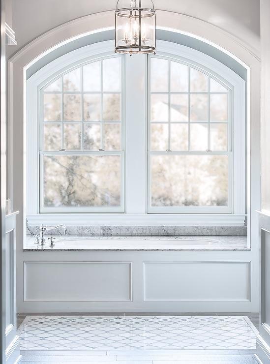 Benjamin Moore San Antonio Gray Geometric Tile Gray Tile Wood Like Tile Master Bathroom