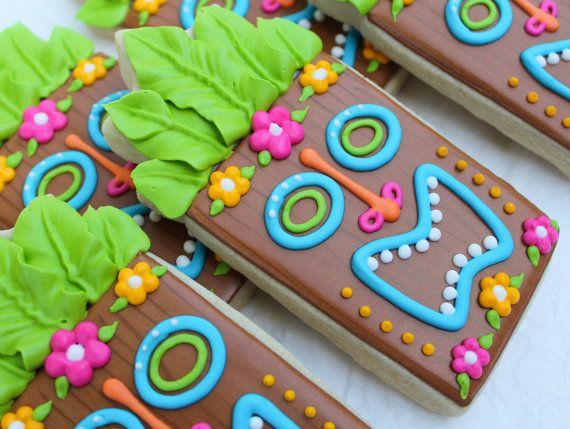 Tiki statute cookies~ SweetTweets Luau Tropical Summer Tiki Statue, by SweetTweetsOnline, Pink, Orange, green, Brown, Blue