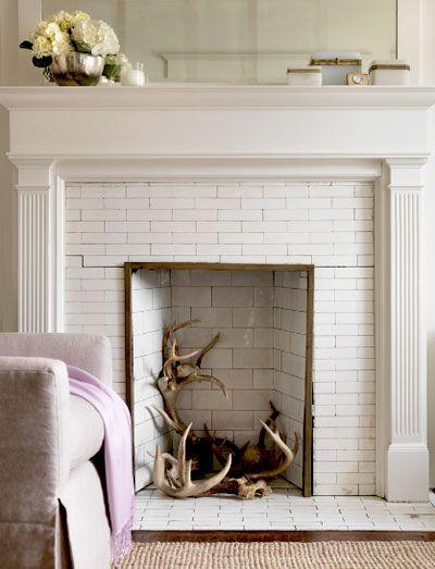 Decorative fireplace.