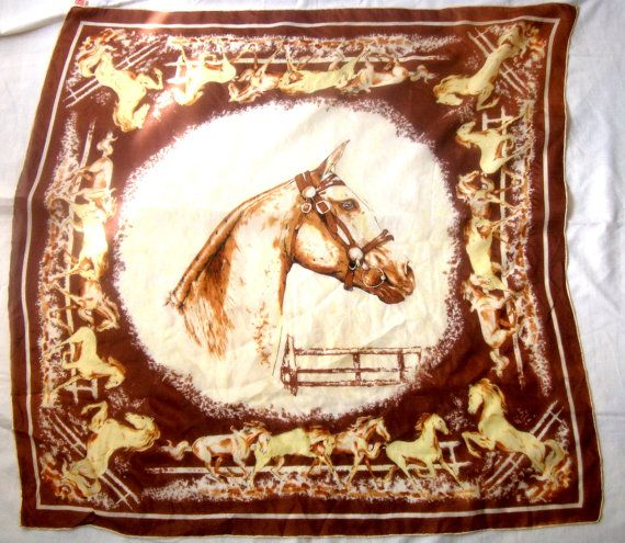 Thinnest scarf Japan Horse. Vintage от ODMIVINTAGE на Etsy