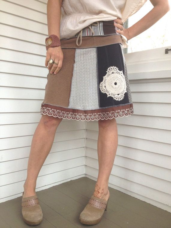 Eco short  patchwork  boho SKIRT, size M ,simple panel, upcycled clothing, eco, hippie,black and tan shabby chic mix, by Zasra