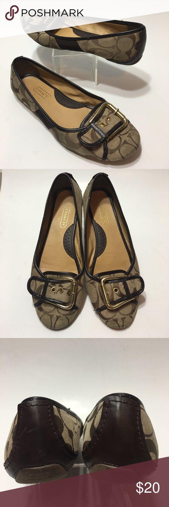 "Coach • ""Josie"" Flats • Sz 9 Coach flats • Style: Josie • Gold hardware • Signature jacquard ""C"" symbol pattern • Minor wear to outside fabric Coach Shoes Flats & Loafers"