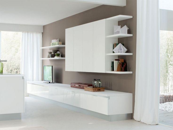 meuble-salon-design-blanc-tiroirs-étagères meuble de salon design
