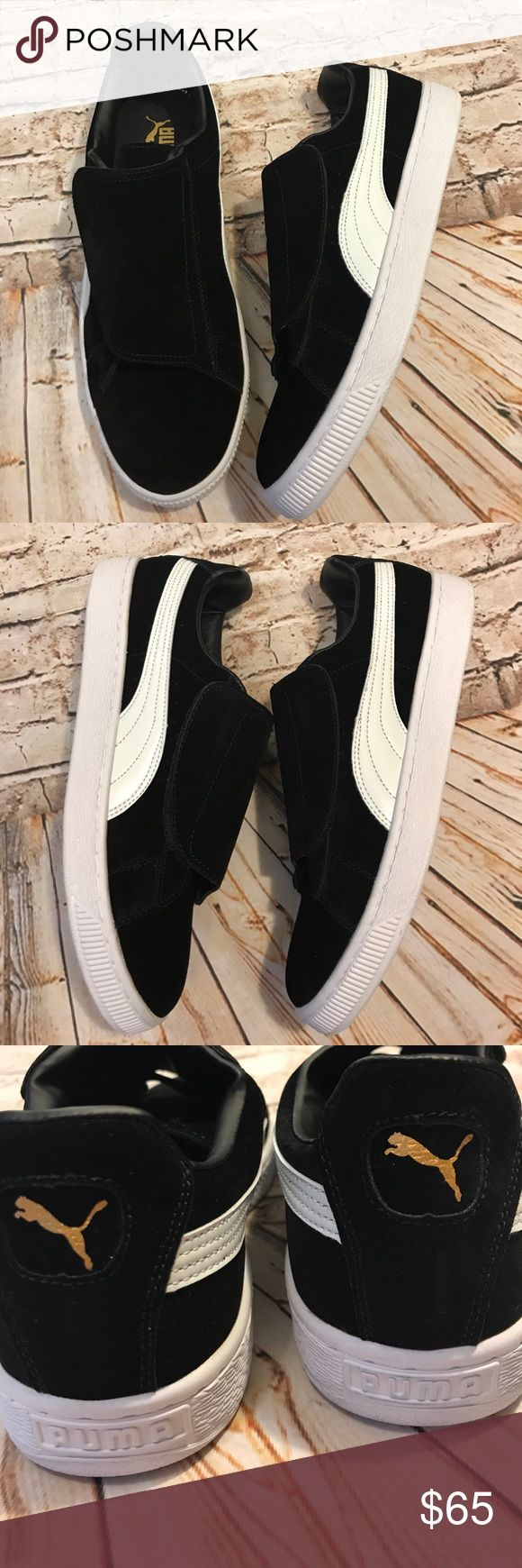 Men's Puma Basket sneaker with Velcro NWOT Men's Puma Basket sneaker with Velcro. NWOT these are a size 10 but my friend says they run small and would better fit a 9.5 so I'm adding measurements just Incase. Any feedback on how you think the sizing runs would be greatly appreciated.  Heel to toe measures a little over 11.5 inches Width measures a little over 4 inches  Suede leather Puma Shoes Sneakers