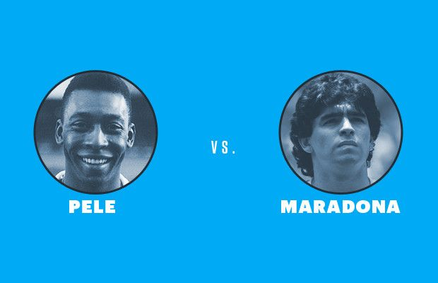 Liked on Pinterest: Pele vs. Maradona | infographic Pele wins hands down ;) (pun intended)
