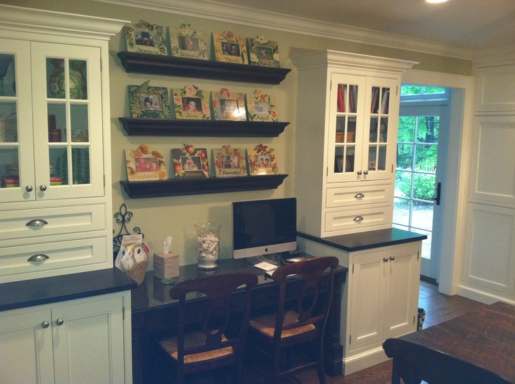The desk area in my kitchen. I have filing cabinets on both sides of the seating area behind the cabinet doors.