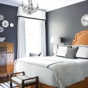 Bedroom   Grey Walls, Orange Accents, Black U0026 White Linens. If Only I