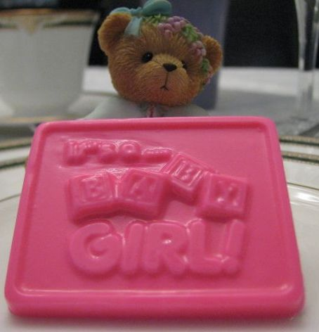 """It's A Baby Girl!"" chocolate square"