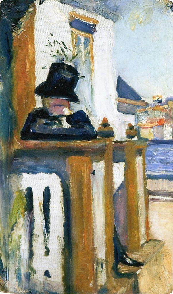 Man on the Veranda.1886 by Edvard Munch                                                                                                                                                                                 Mais