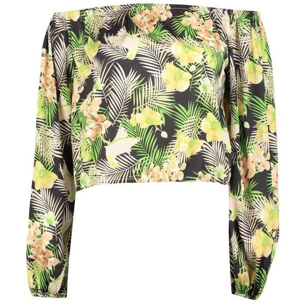 Boohoo Olivia Tropical Print Bardot Top ($26) ❤ liked on Polyvore featuring tops, white off shoulder top, pastel crop top, polka dot crop top, kimono top and jersey crop top