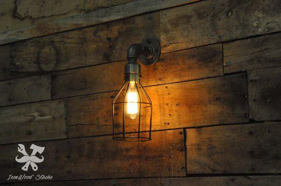 Wand lamp muur licht kooi vintage design van IronWoodStache op Etsy