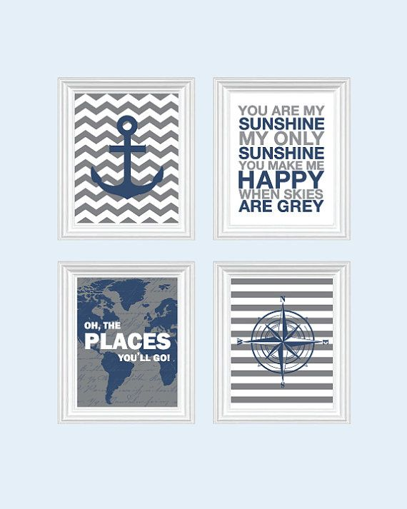 Nautical Nursery Decor Baby Boy Nursery Art by SweetLittleBarn, $49.99