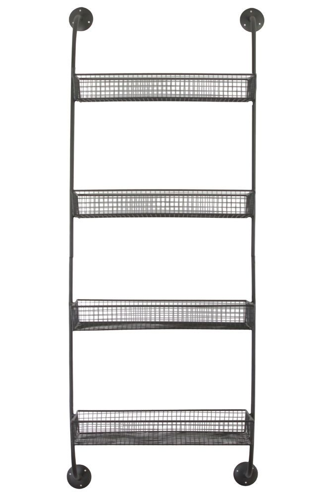 Gray Metal Wire Wall Shelf with 4 Tiers Industrial Pantry Organizer #Unbranded