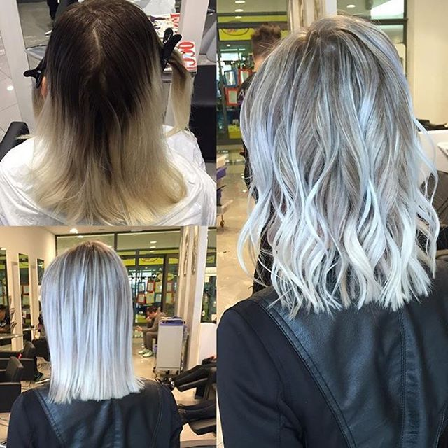 """I started by creating micro section babylights, in the back area I used Schwarzkopf Lightener + 30vol(9%) + Olaplex No.1 on the roots and 10vol(3%) + Olaplex No.1 on the length! In the front area I used 40vol(12%) + Olaplex No.1 on the roots and 10%(olaplex) on the length! I created more or less 250 foils to get this look max 50 min process each section..shampoo and rinsed then toned with Ice White Rusk with 21vol(7%) and a bit of shampoo for 10 min, after that Olaplex No.2 for 15 min"