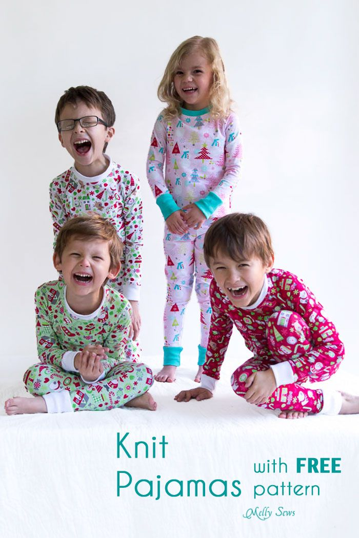 Oh, the cuteness! DIY Sew knit kids Christmas pajamas - with FREE pattern! - Melly Sews