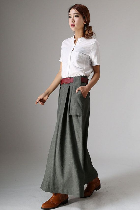 ** SKIRTS DETAIL** * linen fabric with no lining * Hidden zipper in the front side * Two big pockets on each side * Tie belt is not a sale item, yet if you like it, you can get it. * If you are interested in the belt, brown bag, white tops, shoes, just can contact us. * Length approx 91 cm