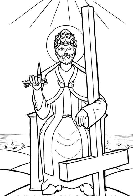 Saint Peter Holding The Keys To The Kingdom Catholic Coloring Page