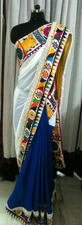Blue and white half and half Saree with colourful kutch border