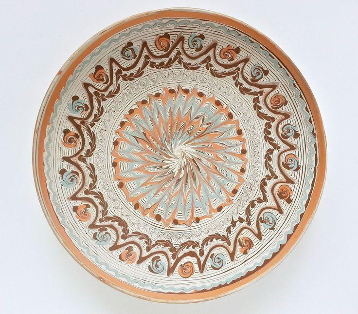 Rustic decor - Horezu unglazed decorative plate - Romanian authentic handmade folk art