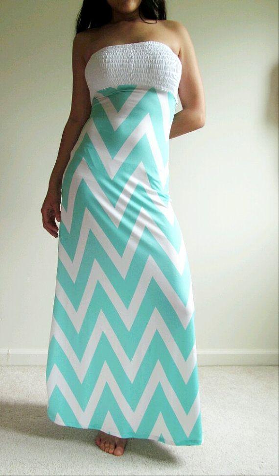 Tiffany Blue Maxi dress Chevron strapless summer by JLeeJewels, $38.50