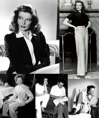 "Katherine Hepburn wearing slacks at a time when ""everyone"" noticed & most folks were ""properly scandalized"". Kate simply didn't care - She was practical above all, & she was happy just knowing that she was a lot more comfortable than any of the people who criticized her. And ... eventually, women came 'round to her way of thinking."
