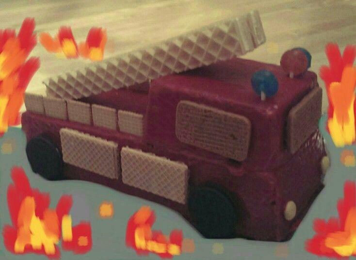 Leiterwagen Feuerwehr Kuchen firetruck cake