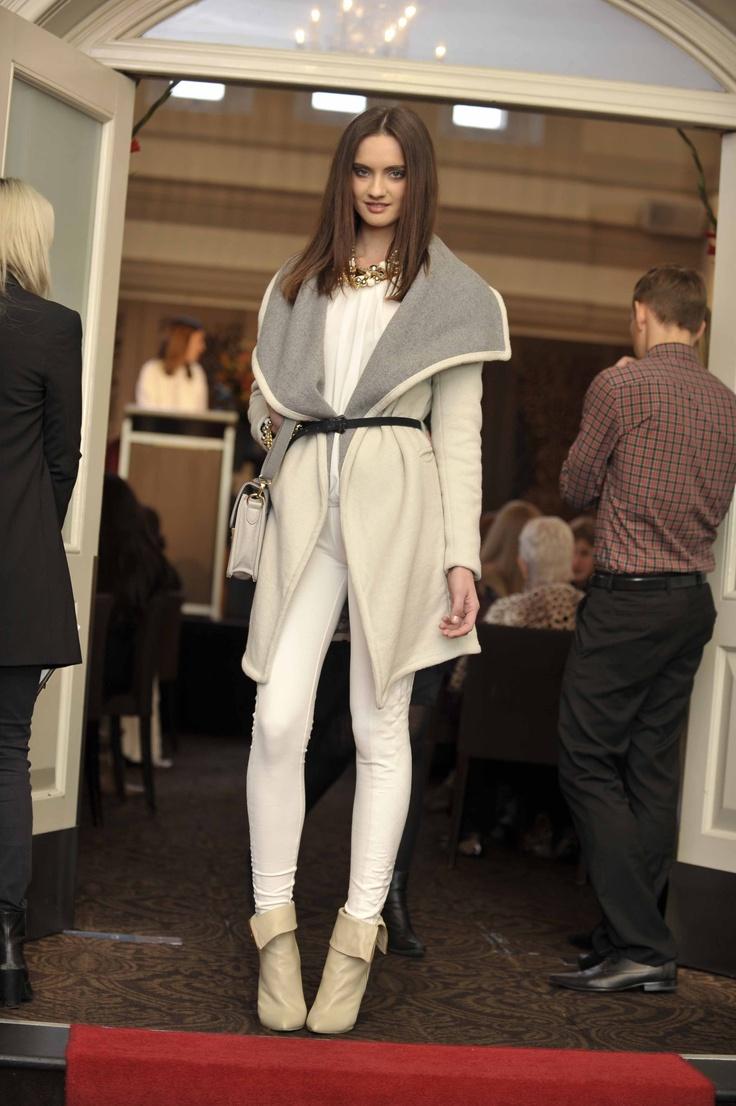 Trend: Neutrals  Model wears SHEIKE blouse, coat & pant, colette by colette hayman bag, Mimco bracelet and Siren at Freelance Shoes bootie.   #qvb #sheike #mimco #colette #fashion