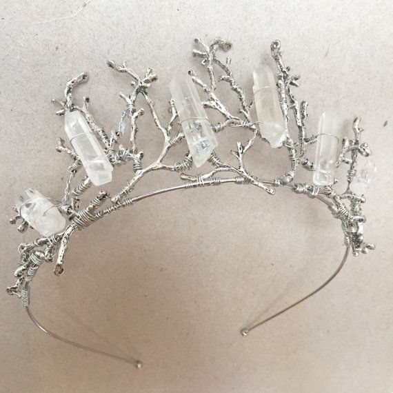 Quartz Raw Crystal and Branch Twig Antler Woodland Ethereal Natural Crown.