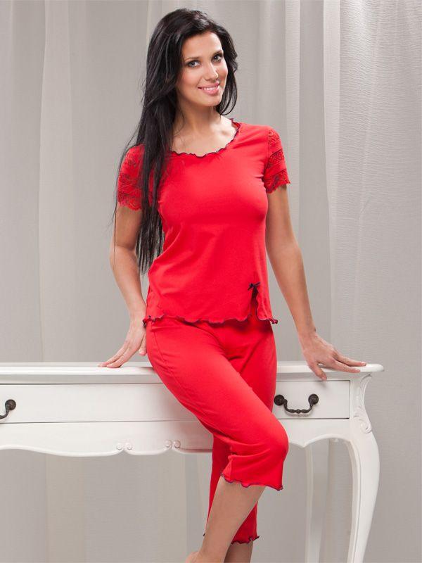 Červené pyžamo s krátkým rukávem - Lega. Nakupujte na: Fashion-intimate.cz