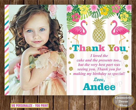 Flamingo Thank You Card Pineapple Birthday Thank You Card Pink Gold Girl Birthday Party Photo Photograph Luau Hawaiian Pool Thfl1 Birthday Thank You Cards Pink Gold Girl Birthday Girl Birthday Party