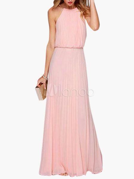 Halter Cut Out Sleeveless Pleated Women's Maxi Dress - Milanoo.com