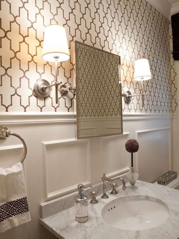 This white powder room is modern and vintage all at the same time.